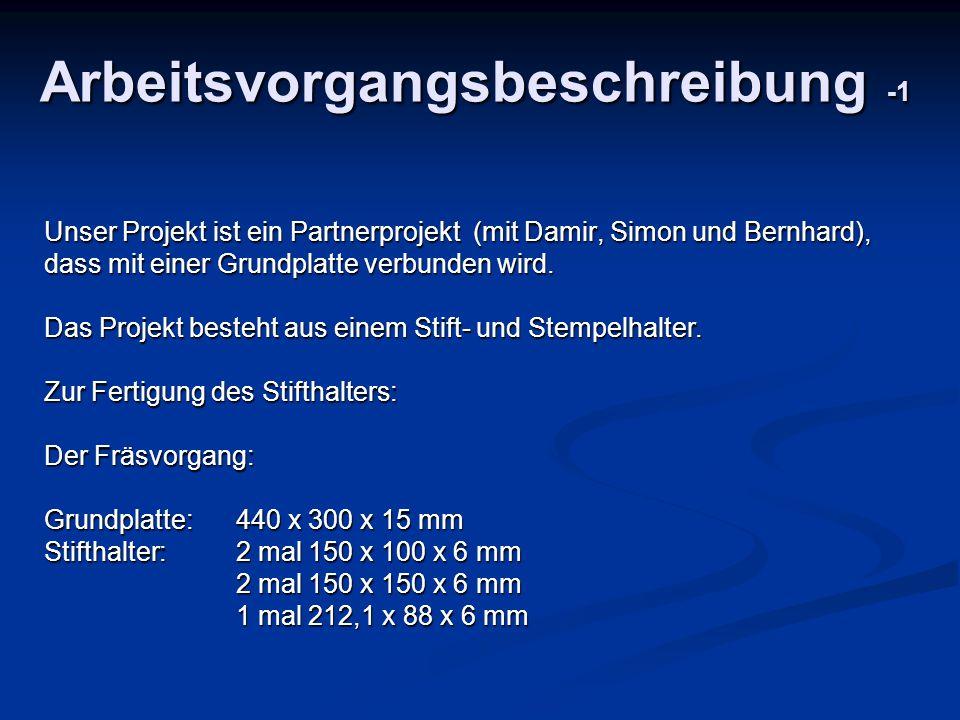 Arbeitsvorgangsbeschreibung -1 Unser Projekt ist ein Partnerprojekt (mit Damir, Simon und Bernhard), dass mit einer Grundplatte verbunden wird. Das Pr