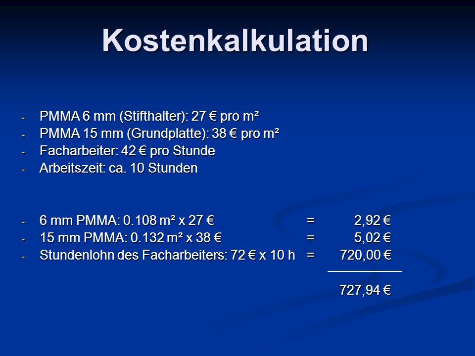 Kostenkalkulation - PMMA 6 mm (Stifthalter): 27 € pro m² - PMMA 15 mm (Grundplatte): 38 € pro m² - Facharbeiter: 42 € pro Stunde - Arbeitszeit: ca. 10