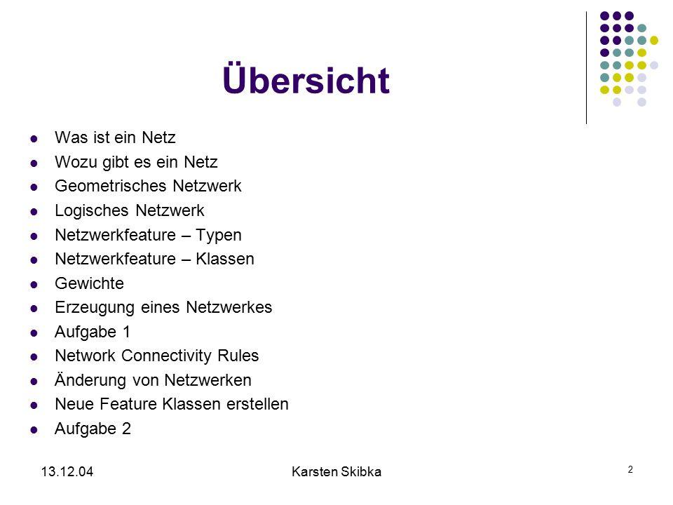 13.12.04Karsten Skibka 2 Übersicht Was ist ein Netz Wozu gibt es ein Netz Geometrisches Netzwerk Logisches Netzwerk Netzwerkfeature – Typen Netzwerkfe