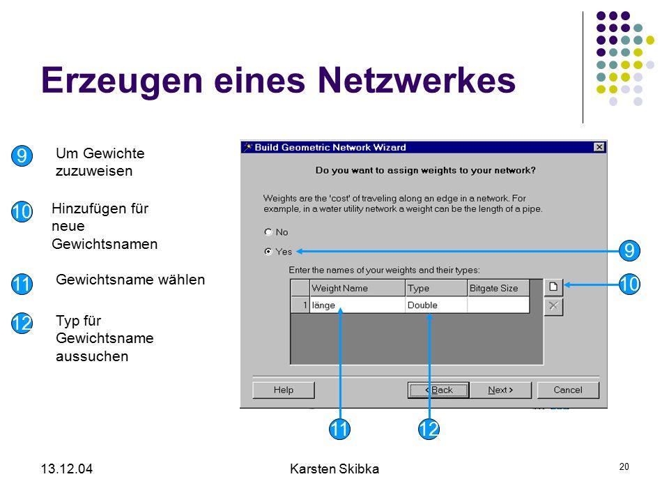 13.12.04Karsten Skibka 20 Erzeugen eines Netzwerkes 10 12 9 Um Gewichte zuzuweisen Hinzufügen für neue Gewichtsnamen Gewichtsname wählen Typ für Gewic