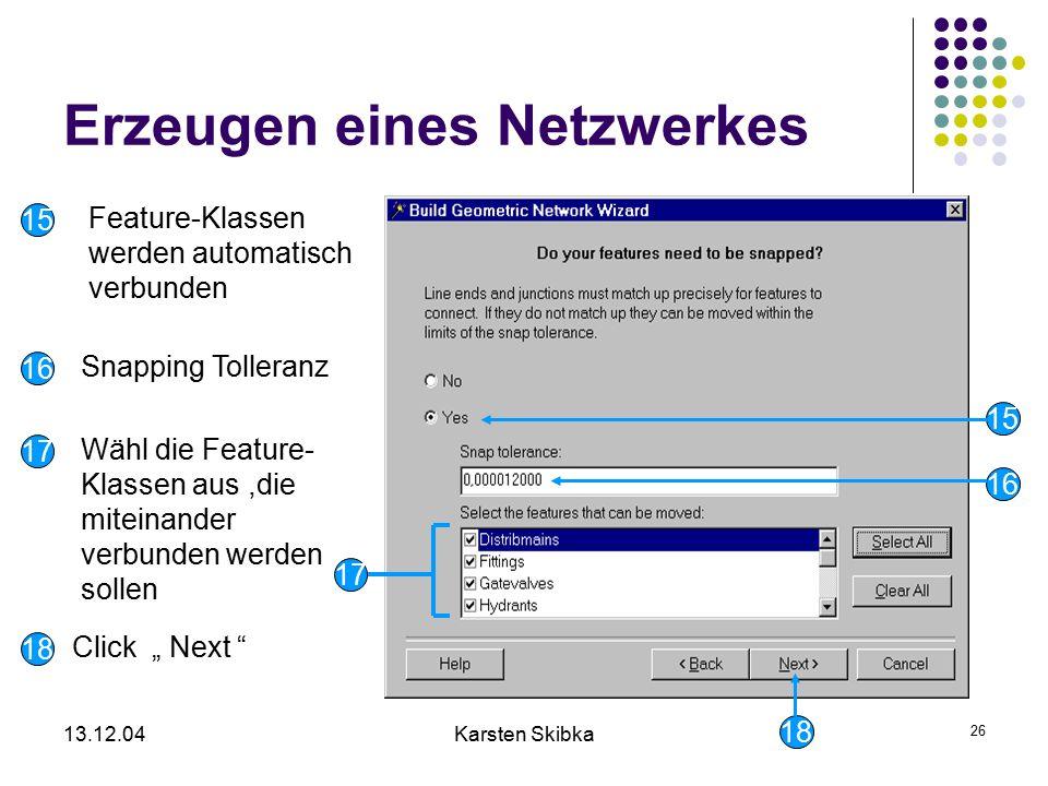 13.12.04Karsten Skibka 26 Erzeugen eines Netzwerkes 18 17 16 15 Feature-Klassen werden automatisch verbunden Snapping Tolleranz Wähl die Feature- Klas