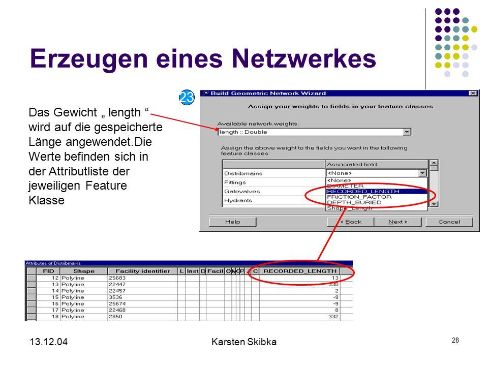 """13.12.04Karsten Skibka 28 Erzeugen eines Netzwerkes Das Gewicht """" length """" wird auf die gespeicherte Länge angewendet.Die Werte befinden sich in der A"""