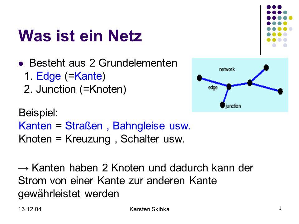 13.12.04Karsten Skibka 14 Gewichte Gewicht ist ein Netzwerkfeature,der Kosten repräsentiert,die man beim passieren einer Kante/Knoten aufwenden muß Beispiele Länge (zum finden des kürzesten Weges) Kosten (zum finden des günstigsten Weges) Zeit (zum finden des schnellsten Weges)