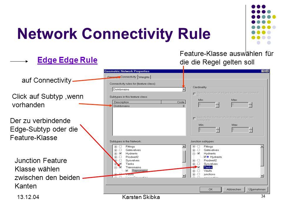 13.12.04Karsten Skibka 34 Network Connectivity Rule Edge Edge Rule auf Connectivity Feature-Klasse auswählen für die die Regel gelten soll Click auf S