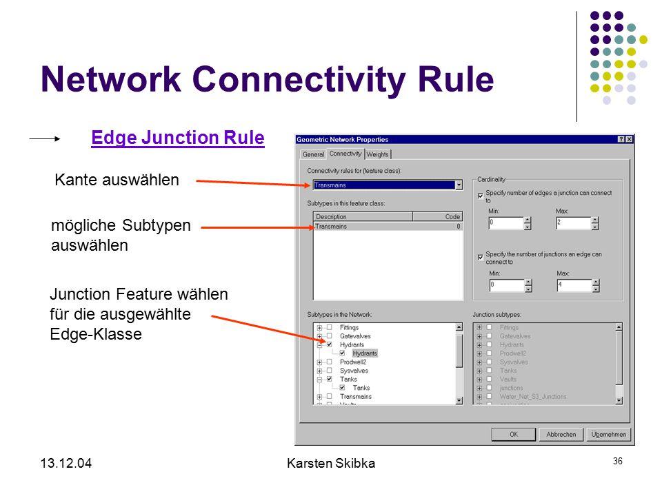13.12.04Karsten Skibka 36 Network Connectivity Rule Edge Junction Rule Kante auswählen mögliche Subtypen auswählen Junction Feature wählen für die aus