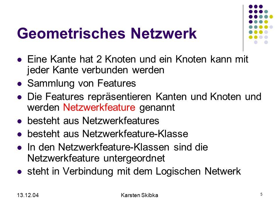 13.12.04Karsten Skibka 5 Geometrisches Netzwerk Eine Kante hat 2 Knoten und ein Knoten kann mit jeder Kante verbunden werden Sammlung von Features Die