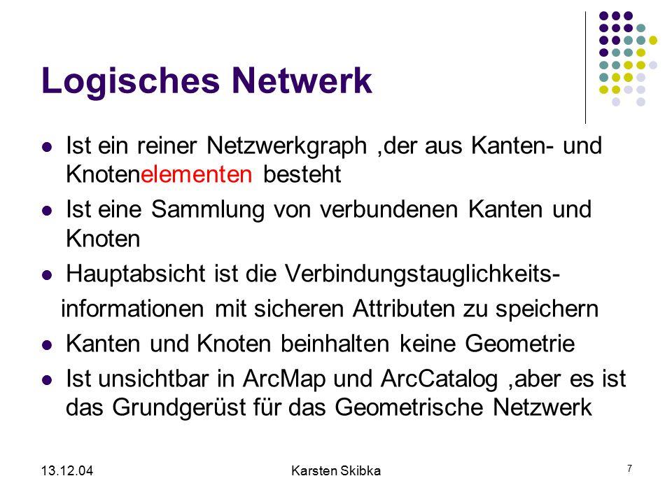 13.12.04Karsten Skibka 38 Änderung von Netzwerken 1) Erzeugen Es werden neue Kanten/Knoten in einem bestehenden Netzwerk in ArcMap mittels Editor verändert (siehe letzter Vortrag) 2) Löschen3) Deaktivieren (= Features sind noch vorhanden, aber nicht an das Netzwerk angeschlossen) Network Editing connectingdisconnecting