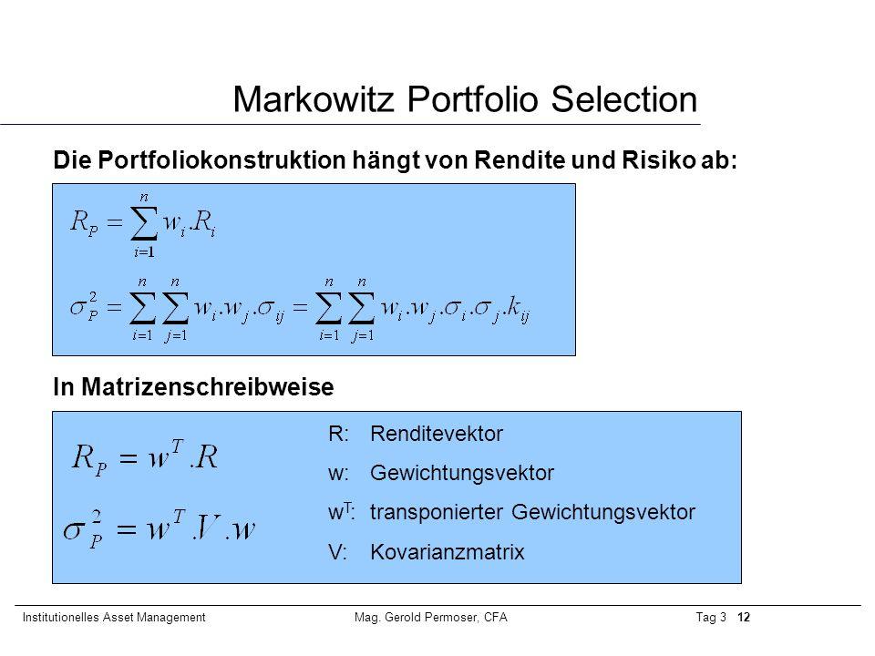 Tag 3 12Institutionelles Asset ManagementMag. Gerold Permoser, CFA Markowitz Portfolio Selection Die Portfoliokonstruktion hängt von Rendite und Risik