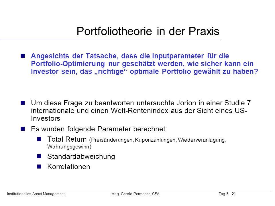 Tag 3 21Institutionelles Asset ManagementMag. Gerold Permoser, CFA Portfoliotheorie in der Praxis nAngesichts der Tatsache, dass die Inputparameter fü