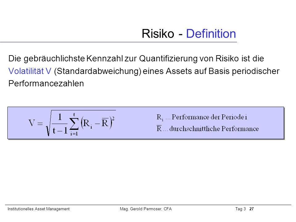 Tag 3 27Institutionelles Asset ManagementMag. Gerold Permoser, CFA Die gebräuchlichste Kennzahl zur Quantifizierung von Risiko ist die Volatilität V (