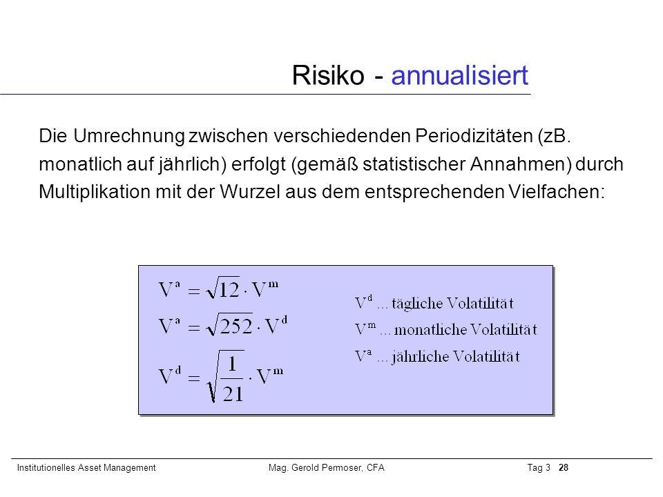 Tag 3 28Institutionelles Asset ManagementMag. Gerold Permoser, CFA Risiko - annualisiert Die Umrechnung zwischen verschiedenden Periodizitäten (zB. mo