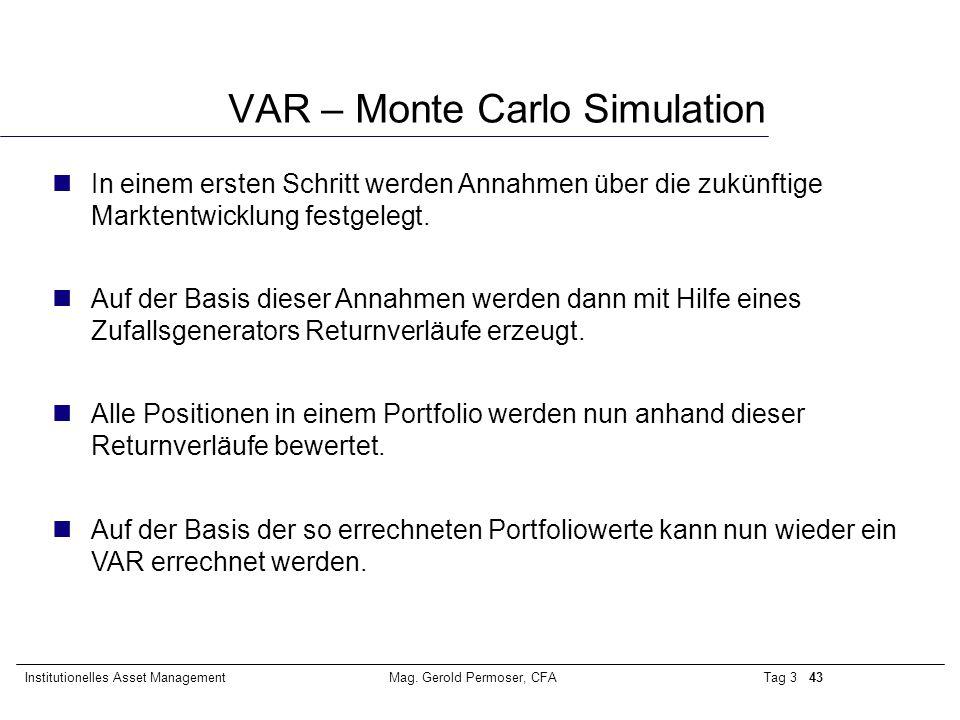 Tag 3 43Institutionelles Asset ManagementMag. Gerold Permoser, CFA VAR – Monte Carlo Simulation nIn einem ersten Schritt werden Annahmen über die zukü