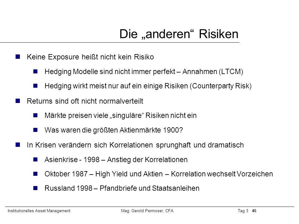 """Tag 3 46Institutionelles Asset ManagementMag. Gerold Permoser, CFA Die """"anderen"""" Risiken nKeine Exposure heißt nicht kein Risiko nHedging Modelle sind"""