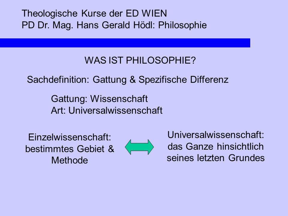Theologische Kurse der ED WIEN PD Dr. Mag. Hans Gerald Hödl: Philosophie WAS IST PHILOSOPHIE? Sachdefinition: Gattung & Spezifische Differenz Gattung: