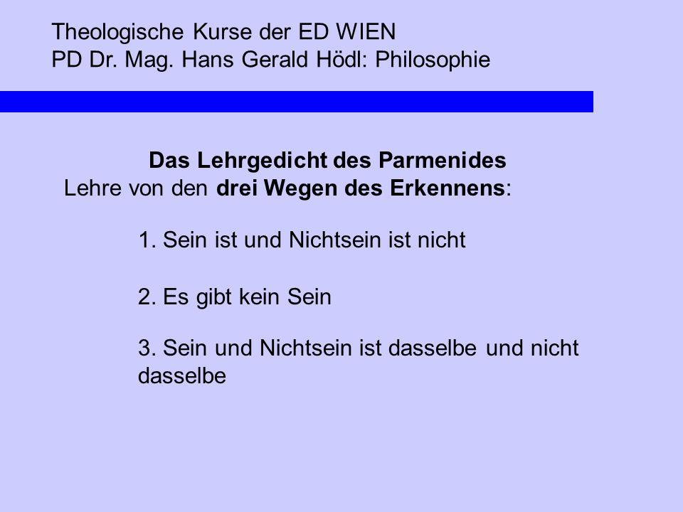 Theologische Kurse der ED WIEN PD Dr. Mag. Hans Gerald Hödl: Philosophie Das Lehrgedicht des Parmenides Lehre von den drei Wegen des Erkennens: 1. Sei