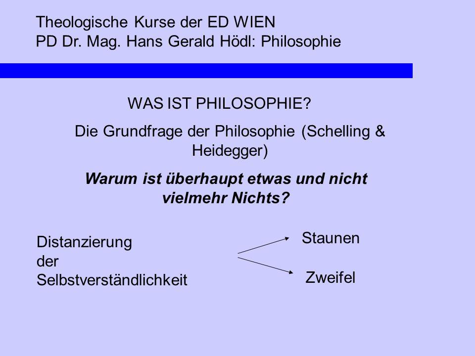 Theologische Kurse der ED WIEN PD Dr. Mag. Hans Gerald Hödl: Philosophie WAS IST PHILOSOPHIE? Die Grundfrage der Philosophie (Schelling & Heidegger) W