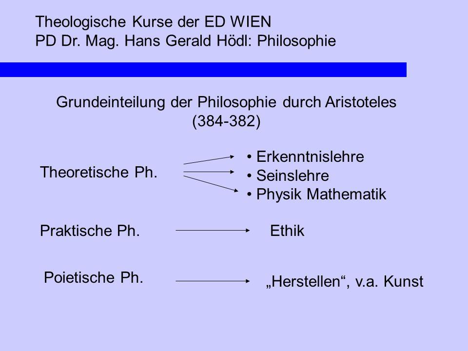Theologische Kurse der ED WIEN PD Dr. Mag. Hans Gerald Hödl: Philosophie Grundeinteilung der Philosophie durch Aristoteles (384-382) Theoretische Ph.