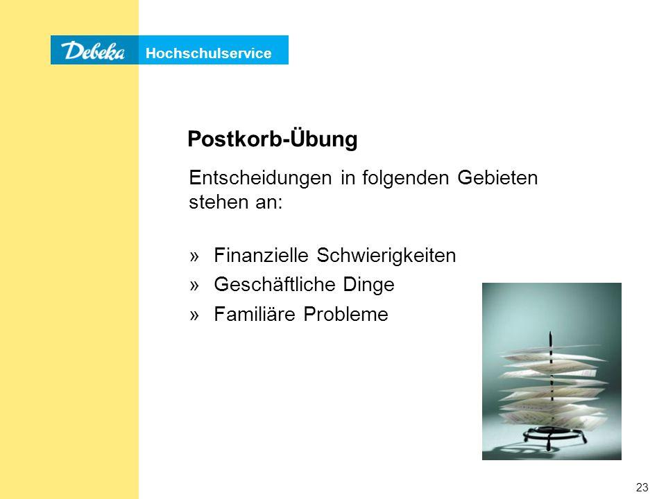 Hochschulservice 23 Postkorb-Übung Entscheidungen in folgenden Gebieten stehen an: »Finanzielle Schwierigkeiten »Geschäftliche Dinge »Familiäre Probleme