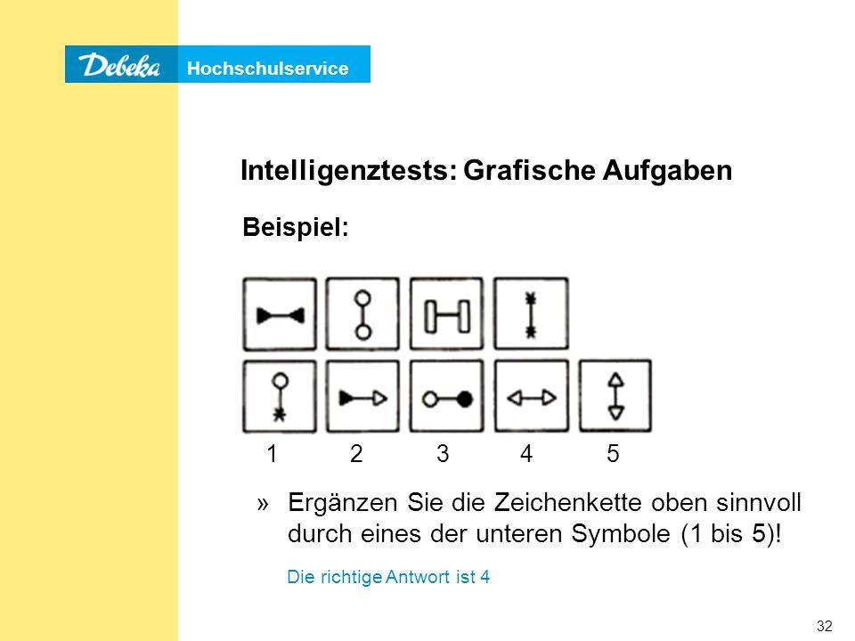 Hochschulservice 32 Intelligenztests: Grafische Aufgaben »Ergänzen Sie die Zeichenkette oben sinnvoll durch eines der unteren Symbole (1 bis 5).