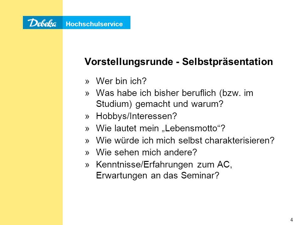 Hochschulservice 45 Gruppendiskussion 1) Allgemeine Themen mit Bezug zum Berufsfeld, z.