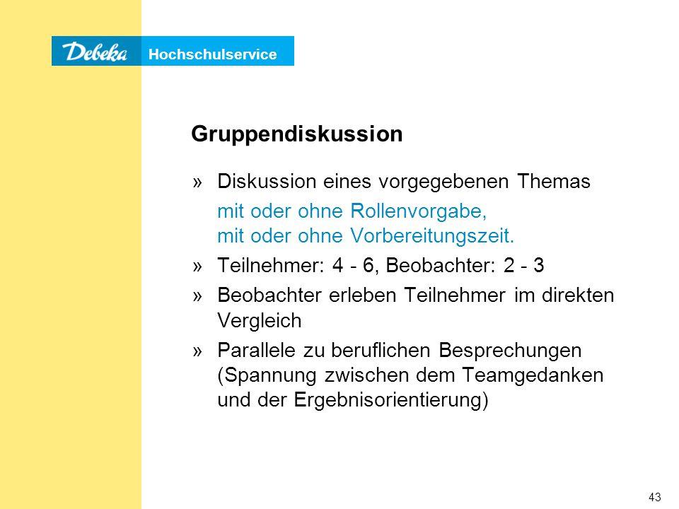 Hochschulservice 43 Gruppendiskussion »Diskussion eines vorgegebenen Themas mit oder ohne Rollenvorgabe, mit oder ohne Vorbereitungszeit.
