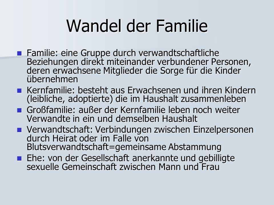 Wandel der Familie Familie: eine Gruppe durch verwandtschaftliche Beziehungen direkt miteinander verbundener Personen, deren erwachsene Mitglieder die