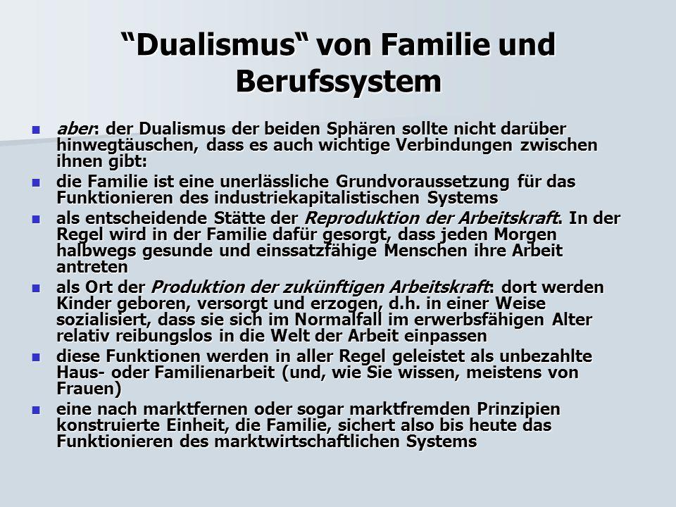 """""""Dualismus"""" von Familie und Berufssystem aber: der Dualismus der beiden Sphären sollte nicht darüber hinwegtäuschen, dass es auch wichtige Verbindunge"""
