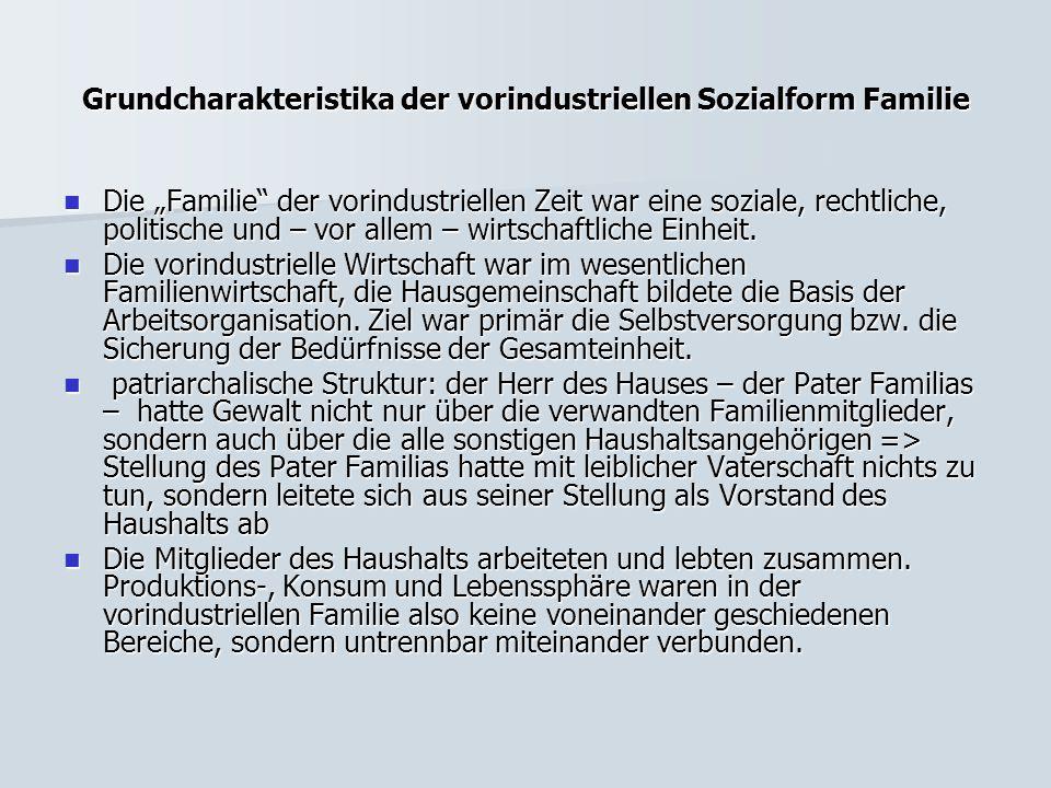 """Grundcharakteristika der vorindustriellen Sozialform Familie Die """"Familie"""" der vorindustriellen Zeit war eine soziale, rechtliche, politische und – vo"""
