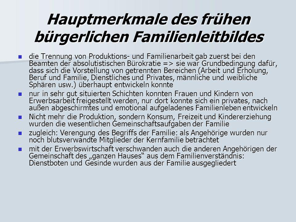 Die Arbeiterfamilie in der Frühzeit der Industriegesellschaft Ehe: Die Partnerwahl war freier als beim Bürgertum (da Besitzfragen keine Rolle spielten).