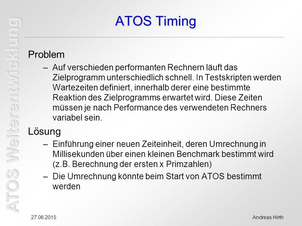 ATOS Weiterentwicklung 27.06.2015Andreas Hirth ATOS Timing Problem –Auf verschieden performanten Rechnern läuft das Zielprogramm unterschiedlich schnell.