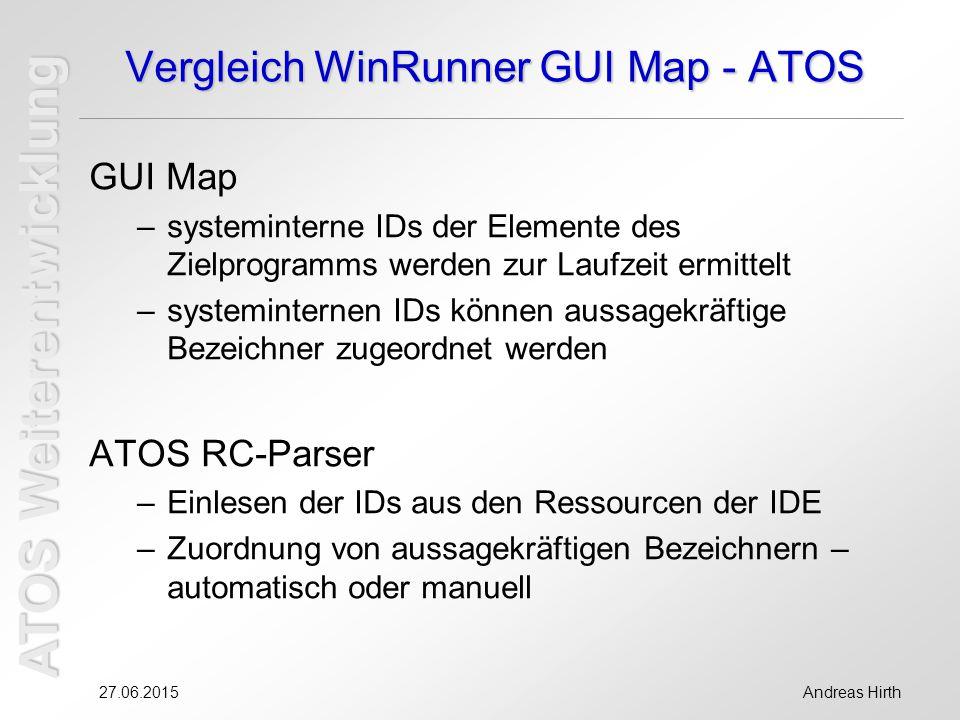 ATOS Weiterentwicklung 27.06.2015Andreas Hirth Vergleich WinRunner GUI Map - ATOS GUI Map –systeminterne IDs der Elemente des Zielprogramms werden zur Laufzeit ermittelt –systeminternen IDs können aussagekräftige Bezeichner zugeordnet werden ATOS RC-Parser –Einlesen der IDs aus den Ressourcen der IDE –Zuordnung von aussagekräftigen Bezeichnern – automatisch oder manuell