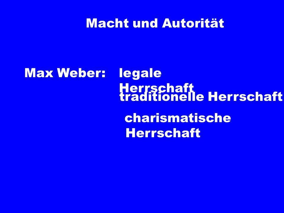 Macht und Autorität Max Weber: legale Herrschaft traditionelle Herrschaft charismatische Herrschaft
