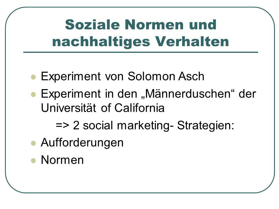 """Soziale Normen und nachhaltiges Verhalten Experiment von Solomon Asch Experiment in den """"Männerduschen der Universität of California => 2 social marketing- Strategien: Aufforderungen Normen"""