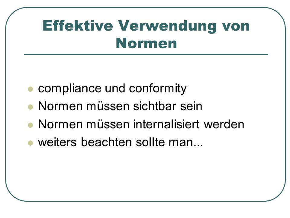 Effektive Verwendung von Normen compliance und conformity Normen müssen sichtbar sein Normen müssen internalisiert werden weiters beachten sollte man.
