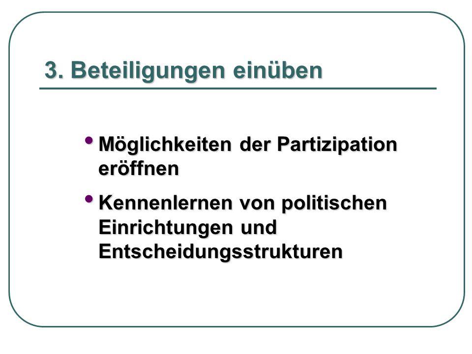 3. Beteiligungen einüben Möglichkeiten der Partizipation eröffnen Möglichkeiten der Partizipation eröffnen Kennenlernen von politischen Einrichtungen