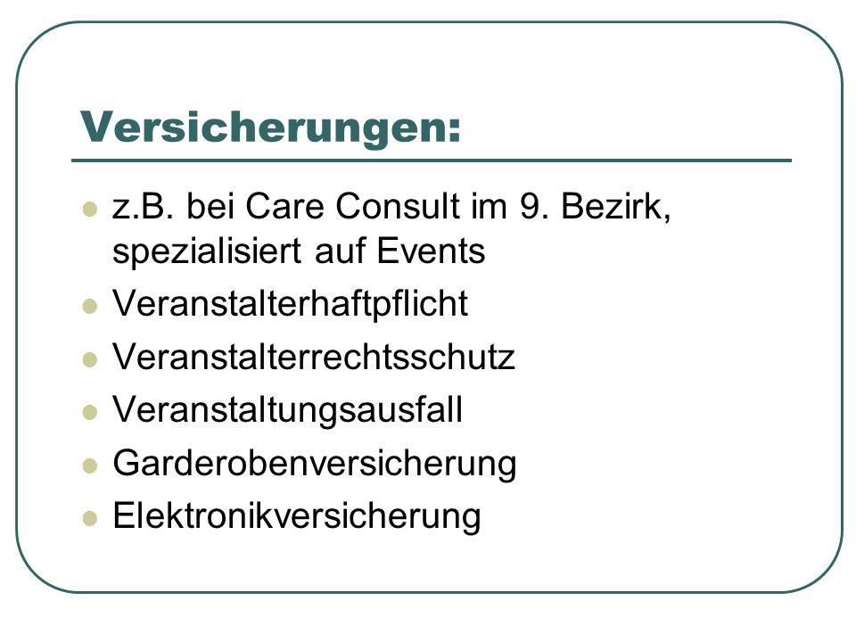 Versicherungen: z.B.bei Care Consult im 9.