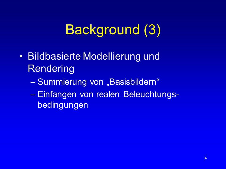 """4 Background (3) Bildbasierte Modellierung und Rendering –Summierung von """"Basisbildern –Einfangen von realen Beleuchtungs- bedingungen"""