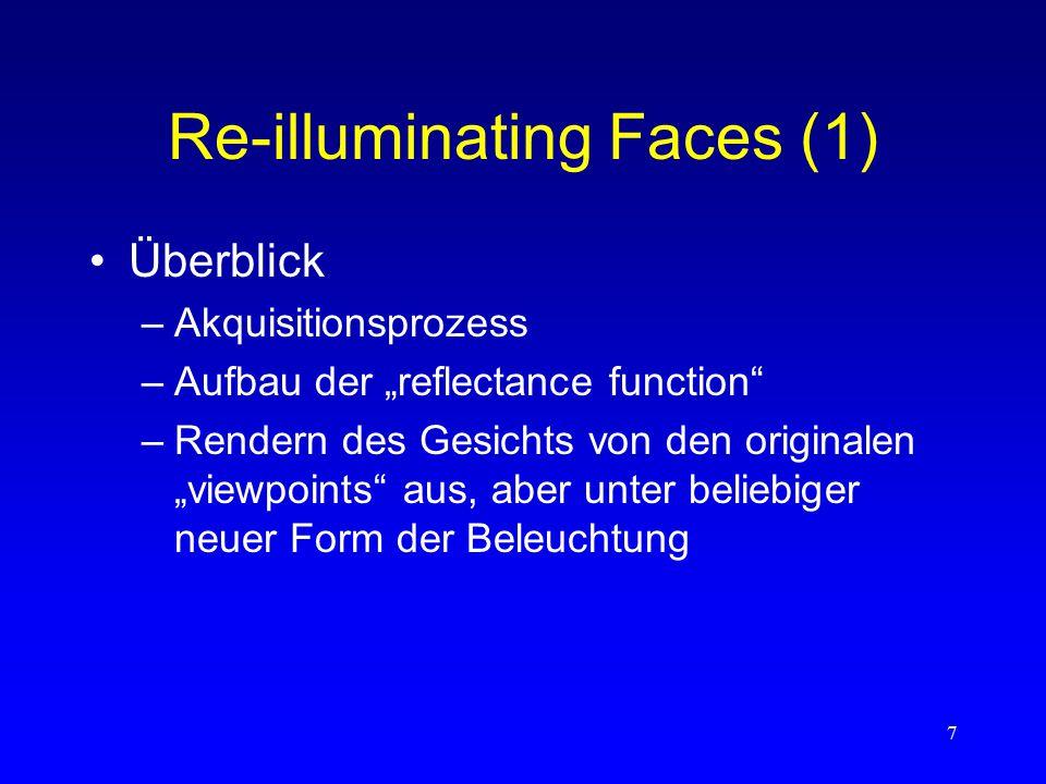 """8 Re-illuminating Faces (2) """"The Light Stage –64 x 32 Bilder  : Azimut  : Inklination """"Reflectance Function R xy ( ,  ) –für jeden Pixelort (x,y) –vom Pixel reflektierter Strahl bei Beleuchtung aus Richtung ( ,  )"""