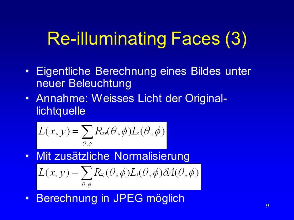 """10 Changing the Viewpoint (1) Überblick –Extrapolation von kompleten """"reflectance fields –Ermöglicht Rendern des Gesichts von beliebigem """"viewpoint aus und unter beliebiger Beleuchtung –Reflexionsmodell der Haut"""