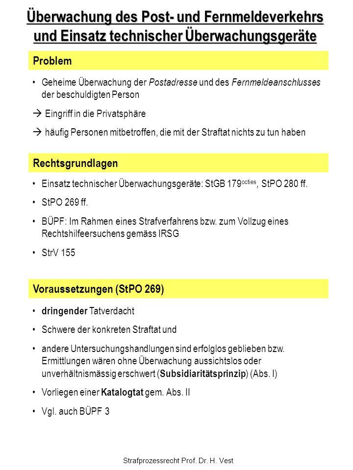 Strafprozessrecht Prof. Dr. H. Vest Überwachung des Post- und Fernmeldeverkehrs und Einsatz technischer Überwachungsgeräte Geheime Überwachung der Pos