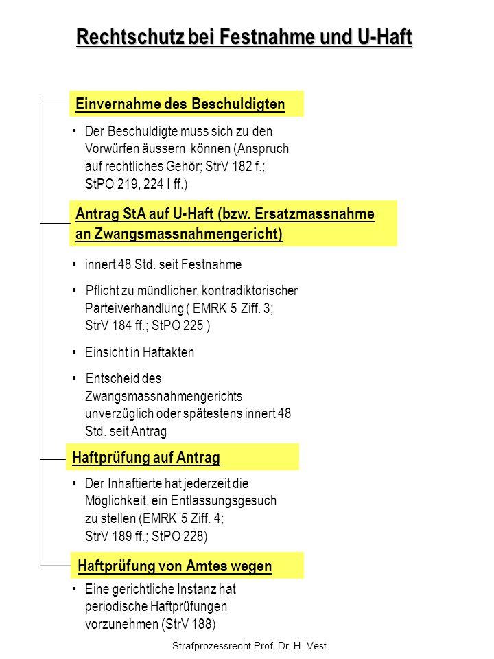 Strafprozessrecht Prof. Dr. H. Vest Rechtschutz bei Festnahme und U-Haft Einvernahme des Beschuldigten Antrag StA auf U-Haft (bzw. Ersatzmassnahme an