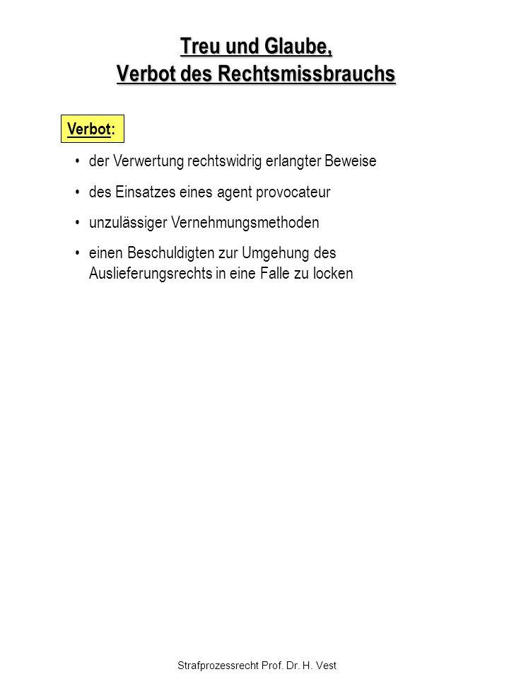 Strafprozessrecht Prof. Dr. H. Vest Treu und Glaube, Verbot des Rechtsmissbrauchs der Verwertung rechtswidrig erlangter Beweise des Einsatzes eines ag