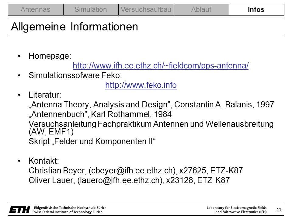 20 AntennasSimulationVersuchsaufbauAblaufInfos Allgemeine Informationen Homepage: http://www.ifh.ee.ethz.ch/~fieldcom/pps-antenna/ Simulationssofware