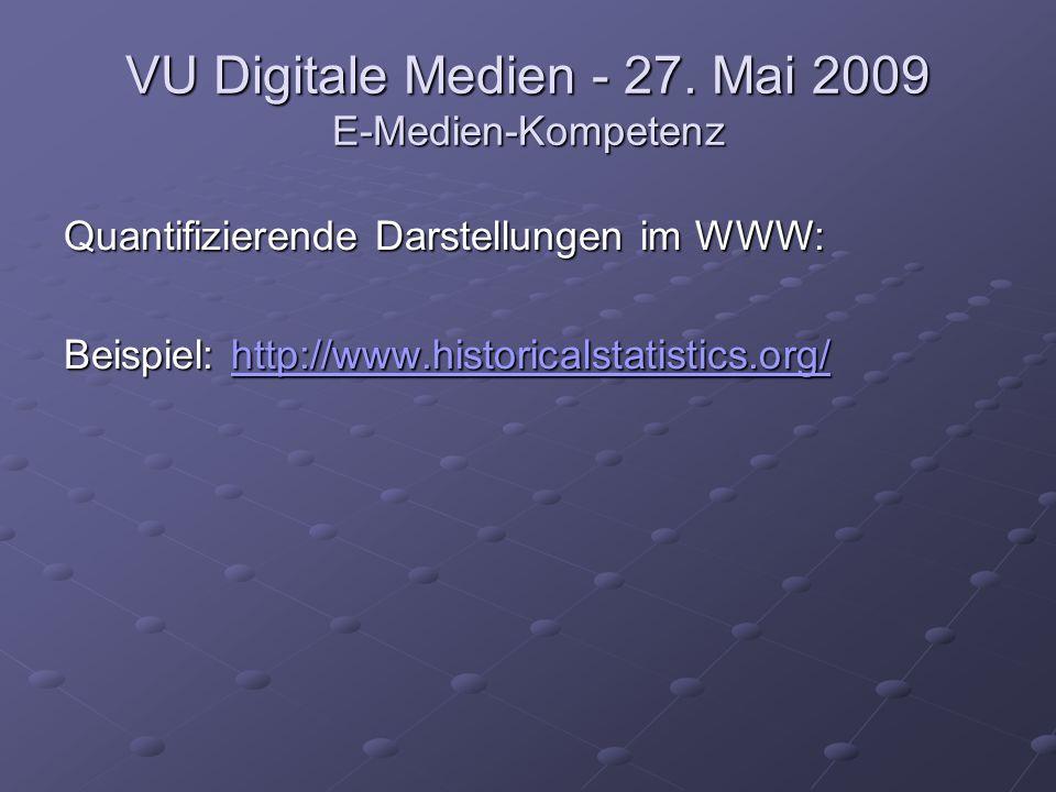 VU Digitale Medien - 27. Mai 2009 E-Medien-Kompetenz Quantifizierende Darstellungen im WWW: Beispiel: http://www.historicalstatistics.org/ http://www.