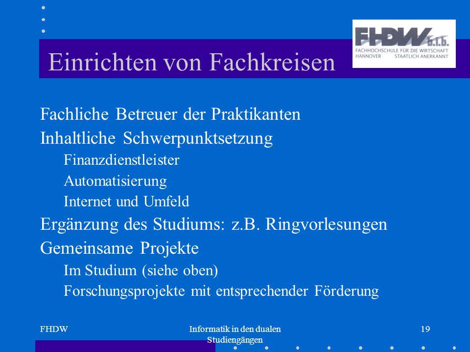 FHDWInformatik in den dualen Studiengängen 19 Einrichten von Fachkreisen Fachliche Betreuer der Praktikanten Inhaltliche Schwerpunktsetzung Finanzdienstleister Automatisierung Internet und Umfeld Ergänzung des Studiums: z.B.