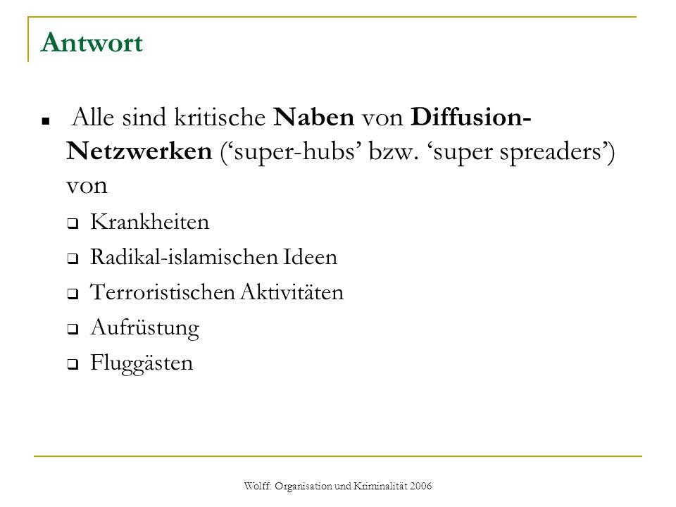 Wolff: Organisation und Kriminalität 2006 Antwort Alle sind kritische Naben von Diffusion- Netzwerken ('super-hubs' bzw. 'super spreaders') von  Kran