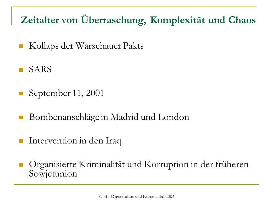 Zeitalter von Überraschung, Komplexität und Chaos Kollaps der Warschauer Pakts SARS September 11, 2001 Bombenanschläge in Madrid und London Interventi