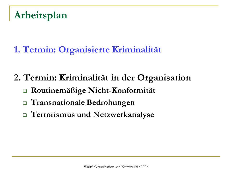 Wolff: Organisation und Kriminalität 2006 Arbeitsplan 1. Termin: Organisierte Kriminalität 2. Termin: Kriminalität in der Organisation  Routinemäßige
