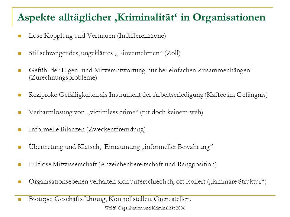Wolff: Organisation und Kriminalität 2006 Ursachen routinemäßiger Nicht-Konformität Solche Unregelmäßigkeiten sind strukturell angelegt, also keine bloße Ausweich- bzw.