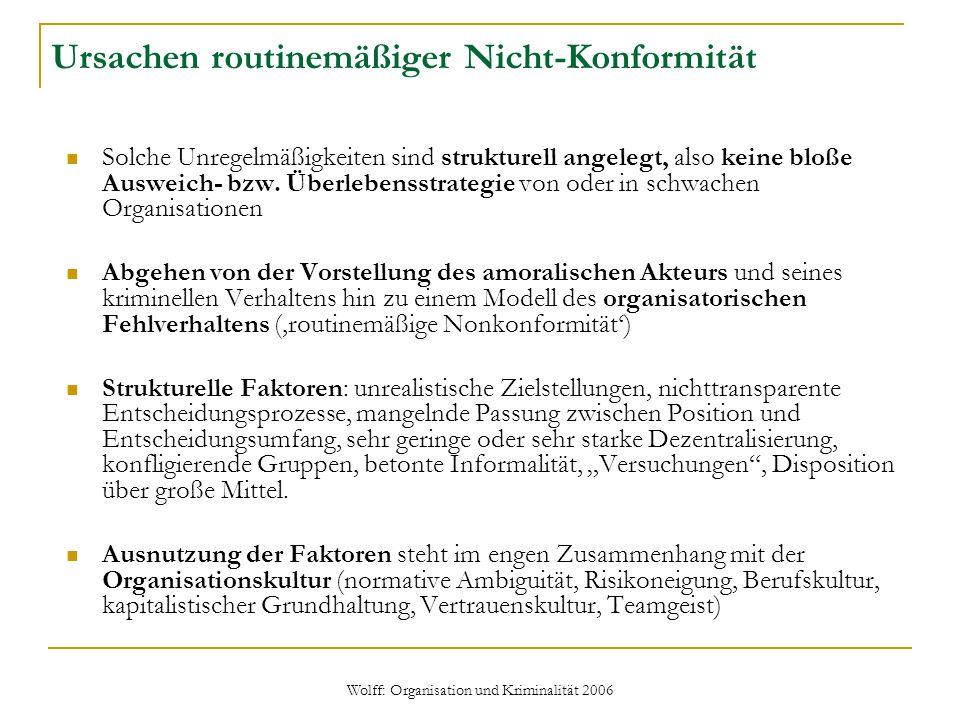 Wolff: Organisation und Kriminalität 2006 Ursachen routinemäßiger Nicht-Konformität Solche Unregelmäßigkeiten sind strukturell angelegt, also keine bl